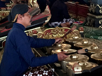 Gamelan accompanying the shadow puppets