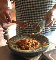 Peanut sauce from scratch...and that means grinding the peanuts with a mortar and pestle