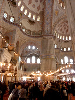 Blue Mosque, spacious interior with crowds of visitors