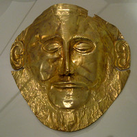 Replica of Agamemnon's death mask, at Mycenae