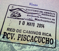 Passports stamped at the entrance