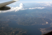 View of Lago Maggiore and Lago D'Orta from our flight to Florence