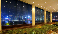 View of Hong Kong Island at night from the Intercontinental lobby