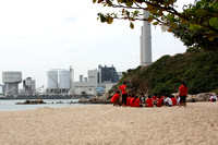 Beach outing on Lamma Island, with the power plant in the background