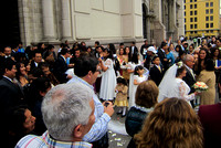 Wedding coming out of the cathedral